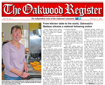 An article about me in the local paper, photo taken the day I made this chili.