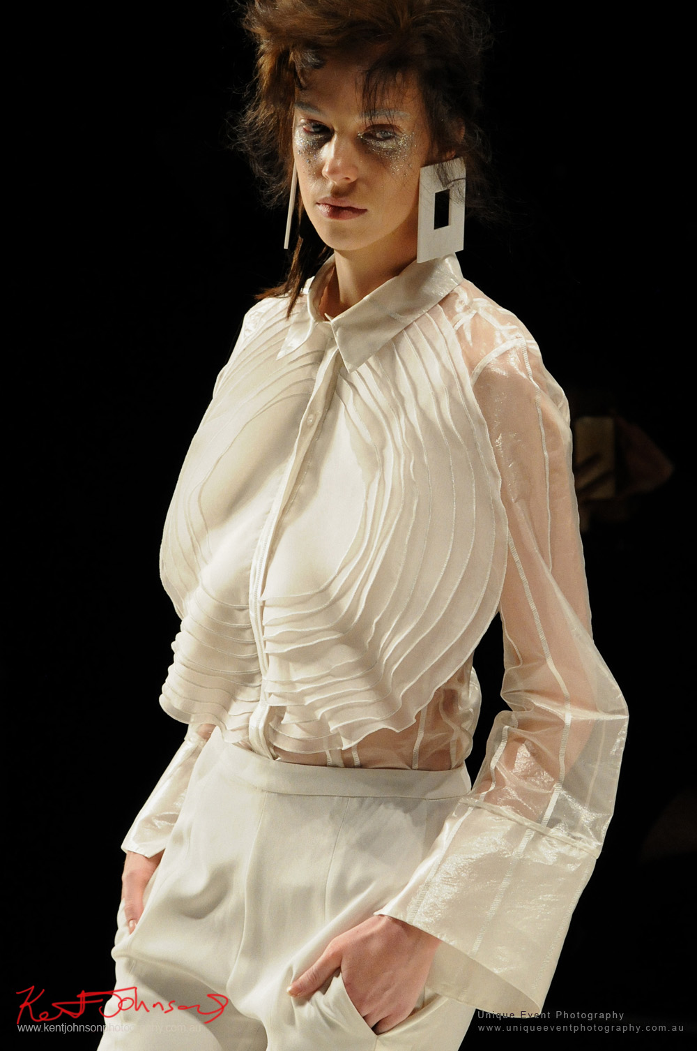Leah Williams womens wear, white chiffon - Designers from Raffles International Showcase 2016 - MBFWA  Photographed by Kent Johnson.