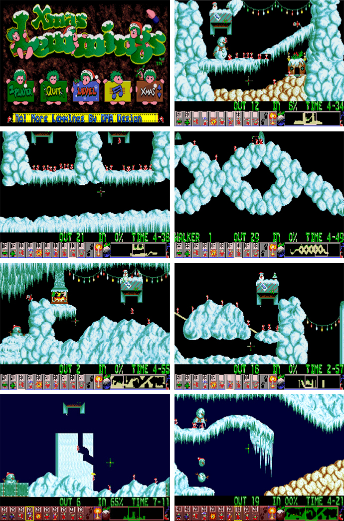 Christmas Lemmings Amiga RetroMO Xmas Screens