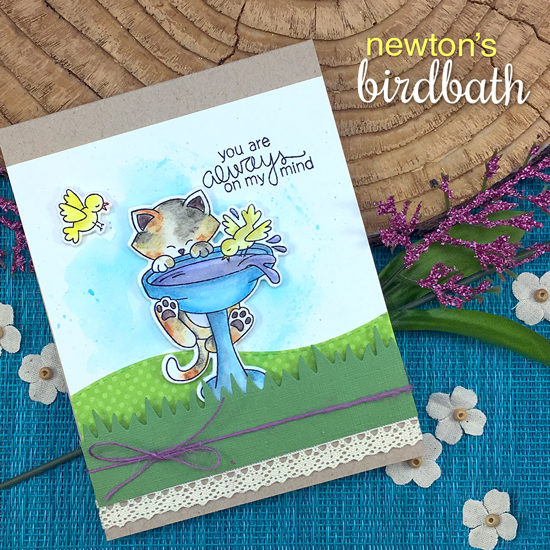 Kitty on Birdbath Card by Jennifer Jackson | Newton's Birdbath Stamp set by Newton's Nook Designs #newtonsnook