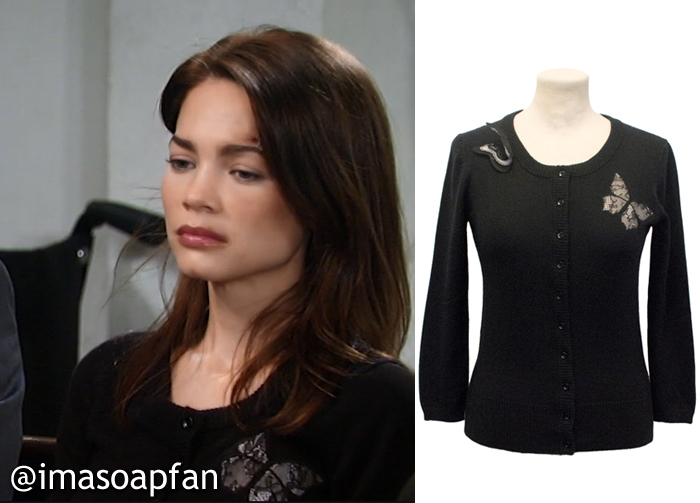 Elizabeth Webber's Black Butterfly Cardigan - General Hospital, Season 54, Episode 09/23/16