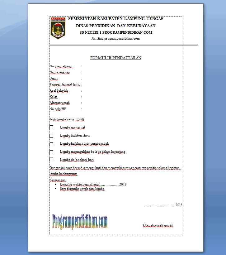 Contoh Formulir Pendaftaran Lomba Terbaru 2018