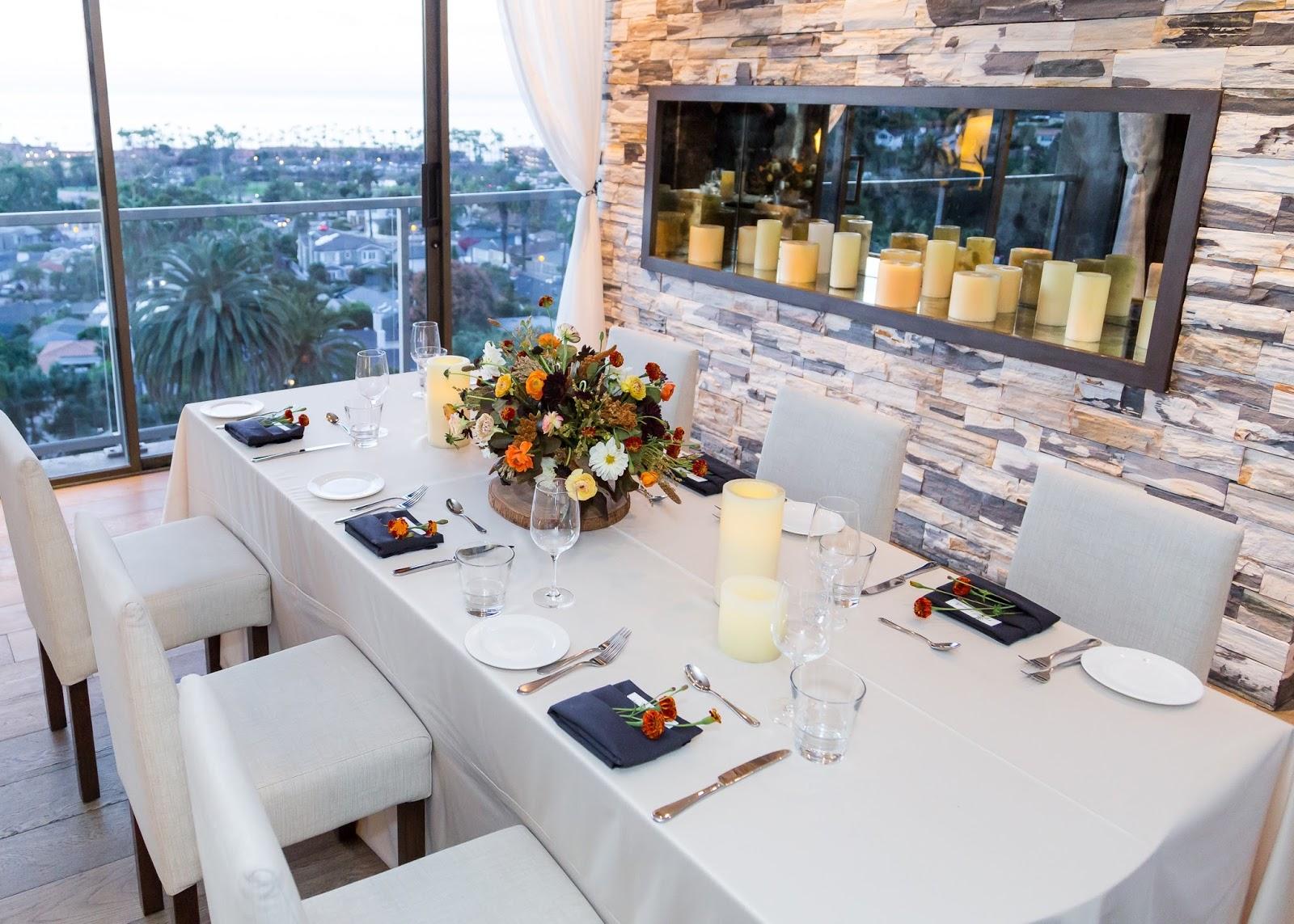 CUSP Hotel La Jolla, CUSP dining experience, CUSP San Diego, Madmade design floral arrangement, fall floral arrangement