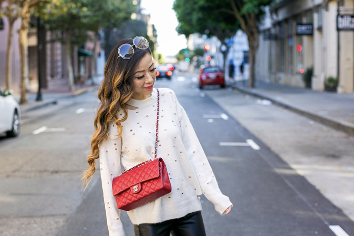 astr the label distressed sweater, chloe sunglasses, baublebar earrings, chanel classic flap bag, moto pants, flats, san francisco street style, cozy fall outfit ideas, san francisco style blog