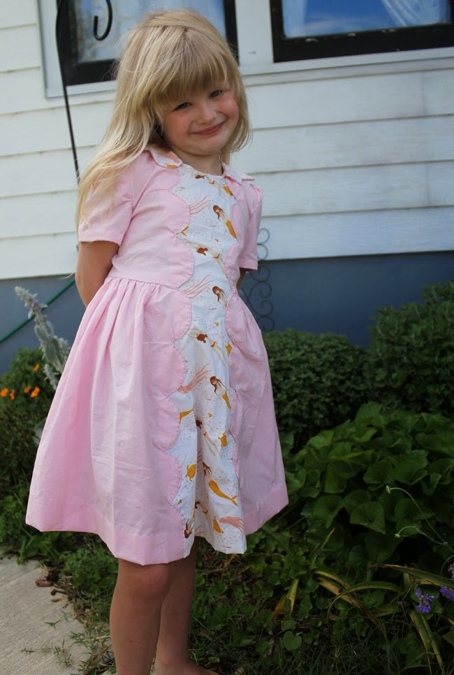1950s kids vintage mermaid print dress simplicity 2930