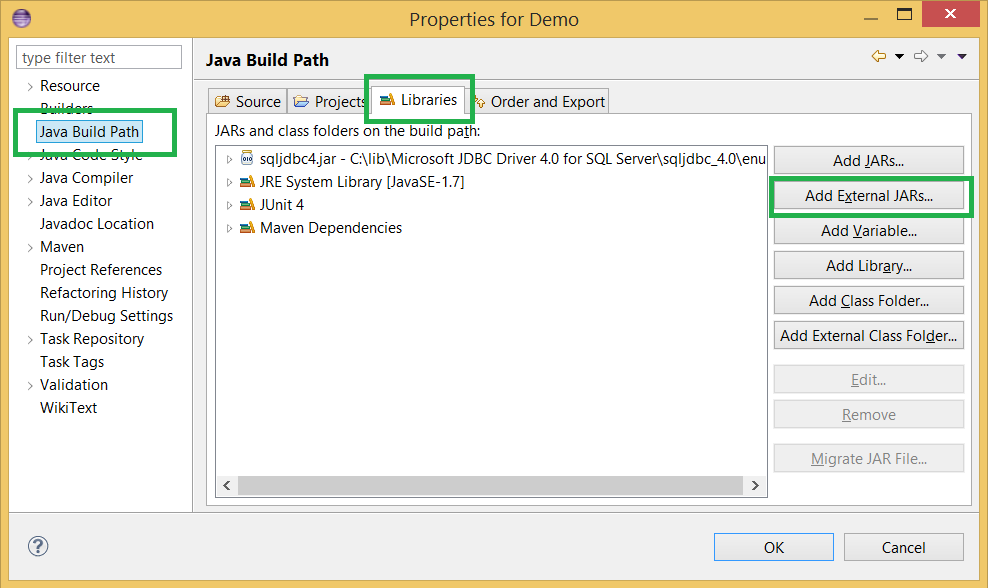 Eclipse - How to add/remove external JAR into Java Project's