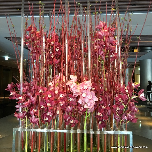 orchids in lobby at Regent Taipei in Taiwan