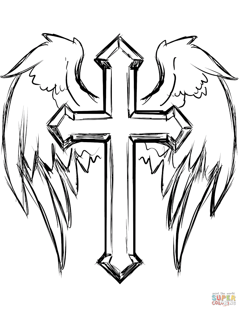 Unique Coloring Pages Of Crosses With Wings Free