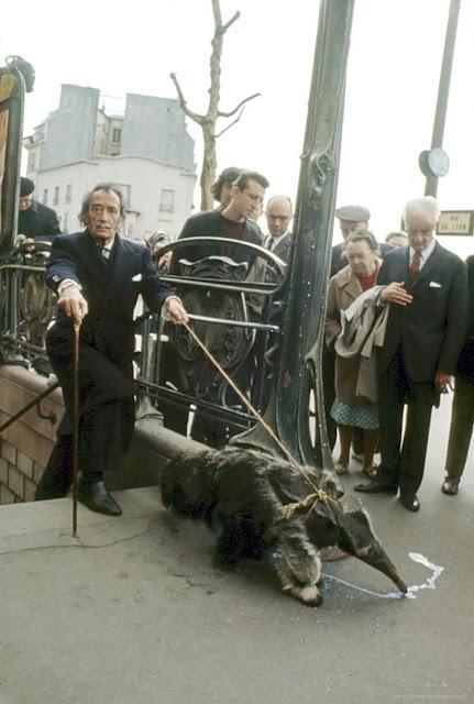 Salvador Dali walking his anteater in Paris
