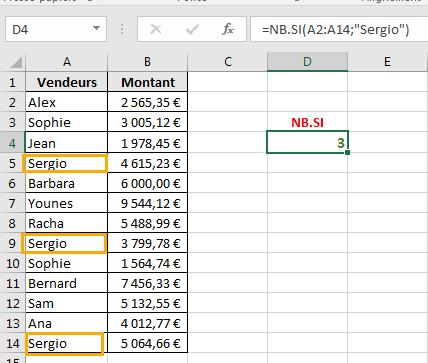 Résultat renvoyé par de la fonction NB.SI