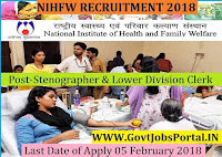 National Institute of Health and Family Welfare Recruitment 2018 – 12 Stenographer & Lower Division Clerk