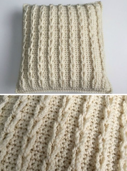 Crocheted Cable Loop Pillow - Free Pattern