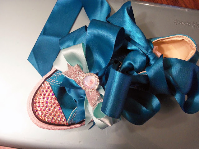 Alice Scraps Wonderland:  DIY Swarovski-studded shoes for a Frozen birthday party +  ideas for an Elsa inspired tutu dress and crown on blog.