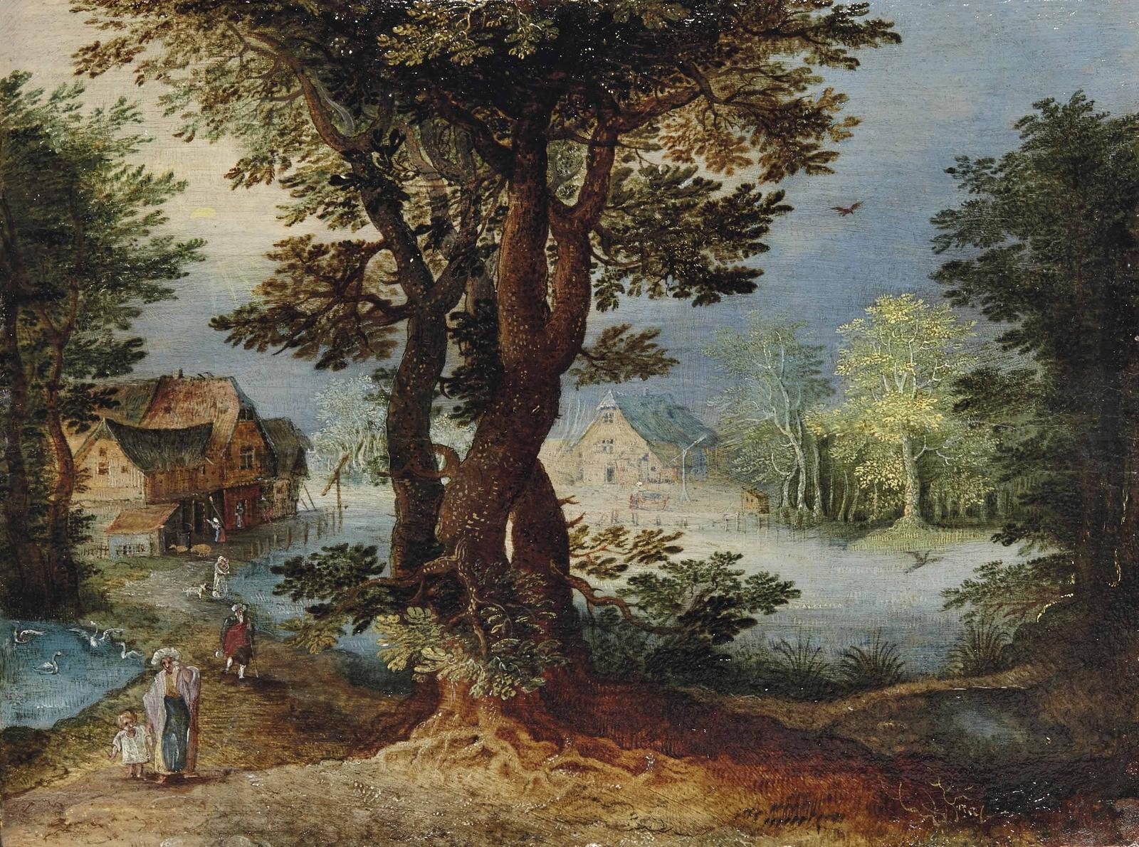 Обои картина, Лесной Пейзаж с Оленьей Охотой, Ян Брейгель старший. Разное foto 16