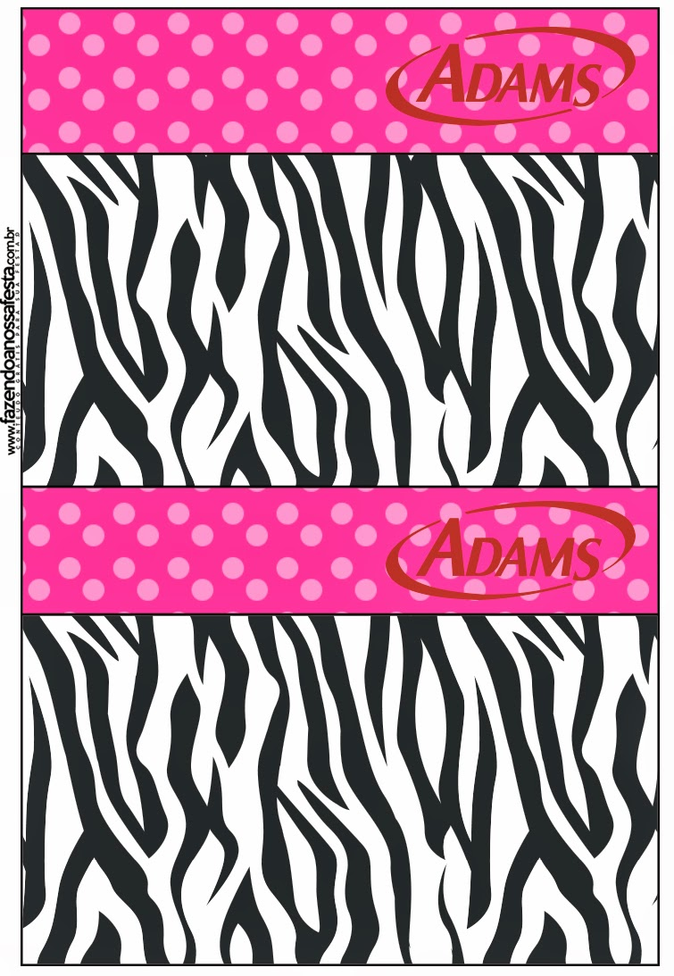 Labels golosina Adams de Zebra and Pink  Free Printable Candy Bar.