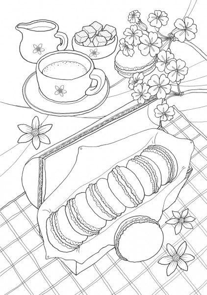 Tranh tô màu ấm trà và bánh