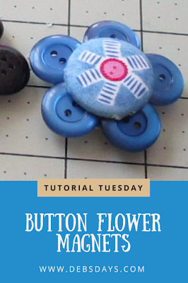Homemade Fabric Covered Button Flower Magnets Craft Project
