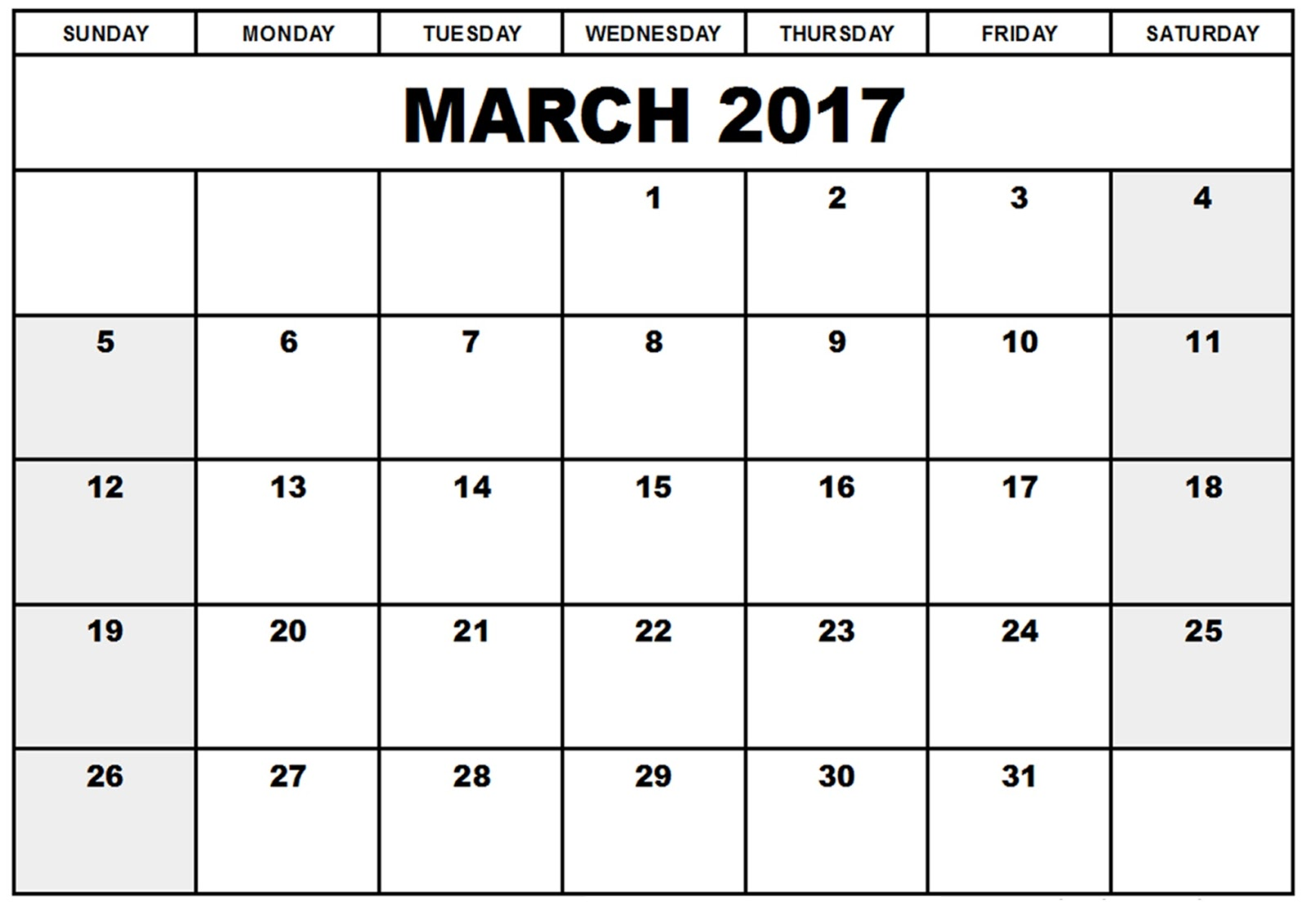 March 2017 Printable Calendar   March 2017 Calendar Template - Get ...