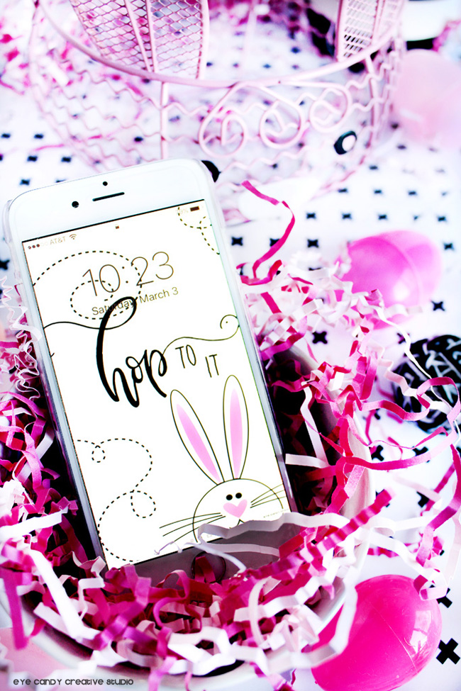 bunny art, hop to it, easter cell wallpaper, hand lettering, easter bunny