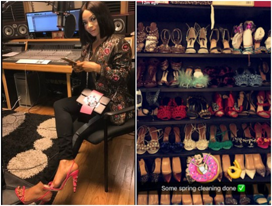 Image result for Check out Toke Makinwa's shoes closet