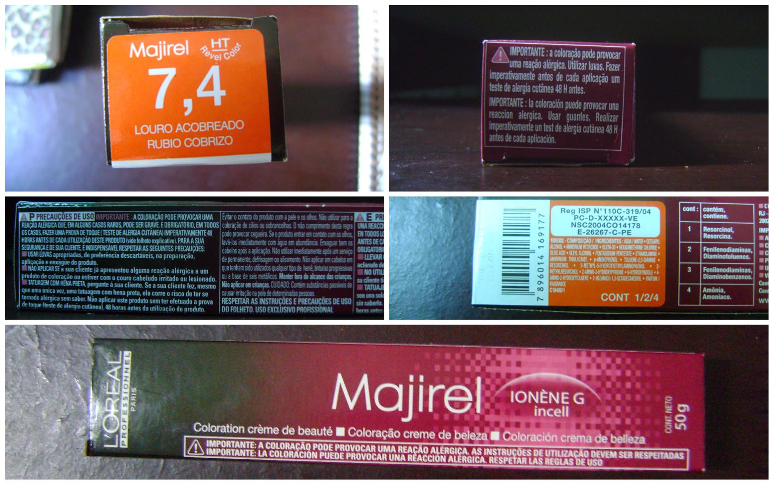 Ingredientes da Majirel 7.4, Ingredientes da Majirel, fórmula da Majirel, química da Majirel, embalagem da Majirel
