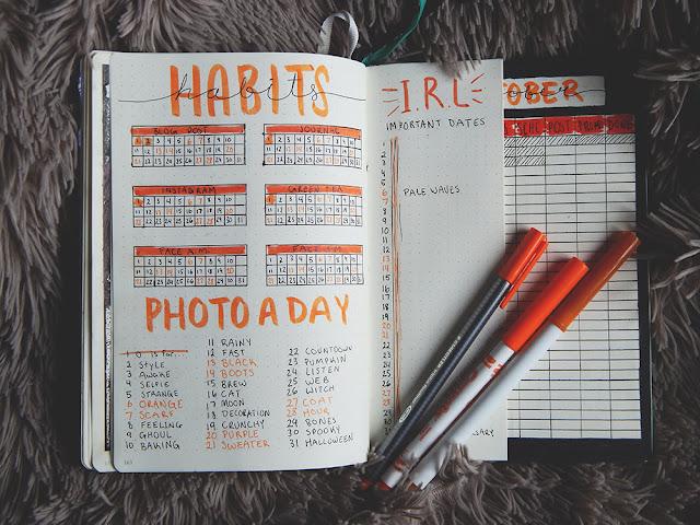 Bullet Journal Set-Up || October 2018 habit tracker
