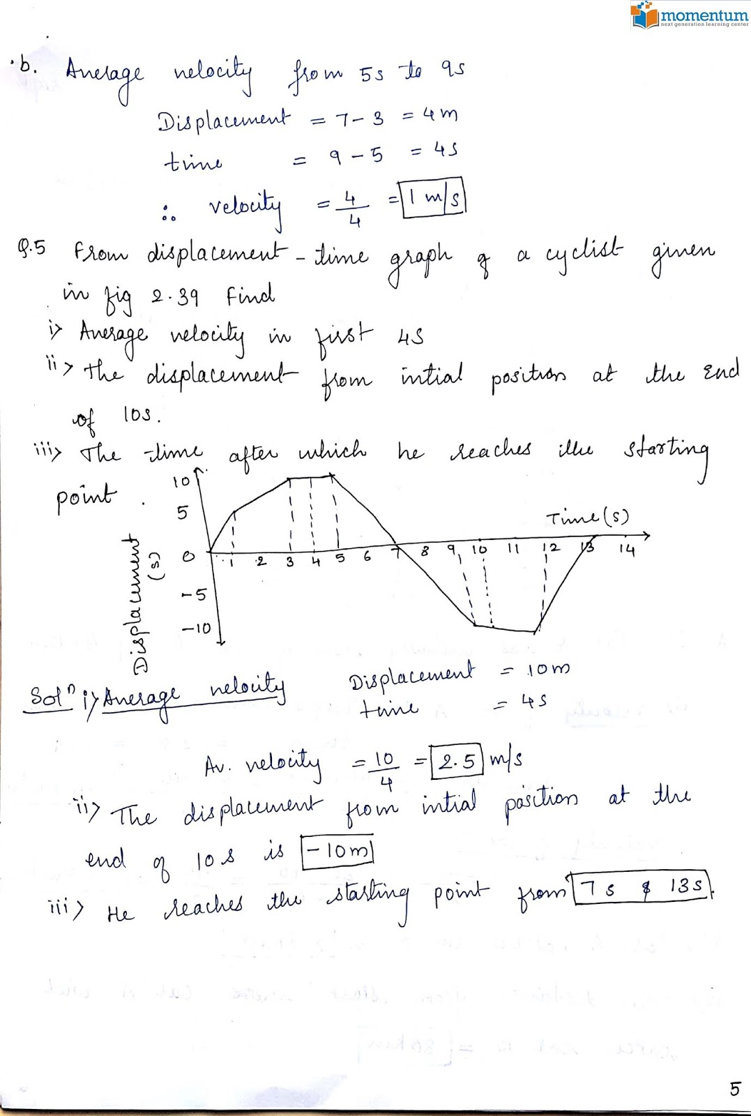 ICSE Class 9 Physics : Chapter 2 Motion Exercise (2B)