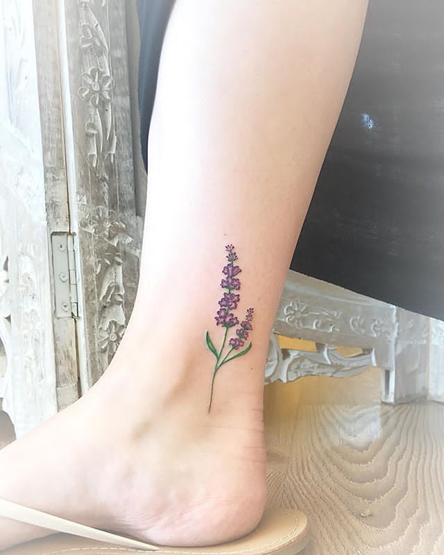 girly Lavender Tattoo on Ankle