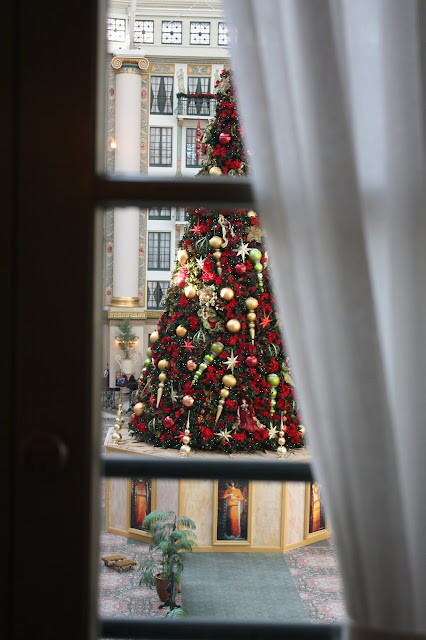 West Baden Springs Hotel Christmas tree through a window