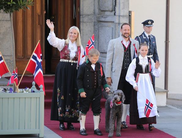 Norway National Day 2016 - Crown Prince Haakon and Crown Princess Mette-Marit of Norway, Prince Sverre Magnus, Princess Ingrid Alexandra, King Harald and Queen Sonja