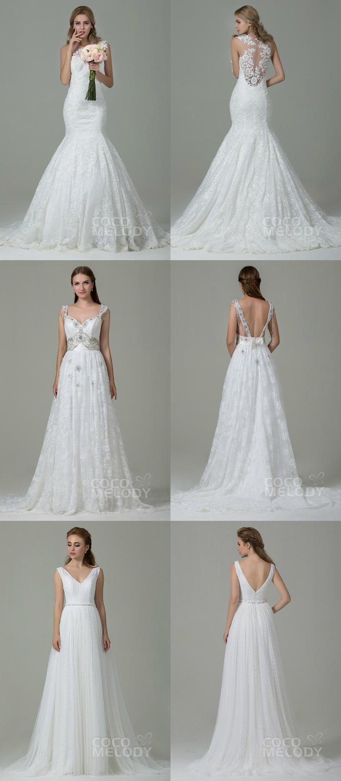 Cocomelody: Vestidos de noivas com decotes nas costas, backless gown, cocomelody