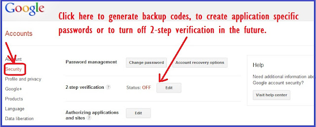 Change 2 step verification settings Google