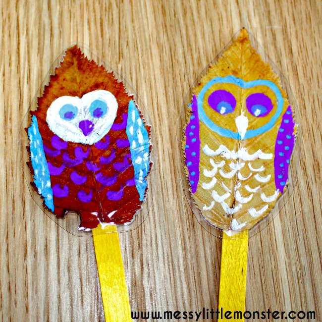 Owl leaf puppet craft for toddlers and preschoolers using autumn/ fall leaves. Inspired by the book 'Leaf Man' by Lois Ehlert.