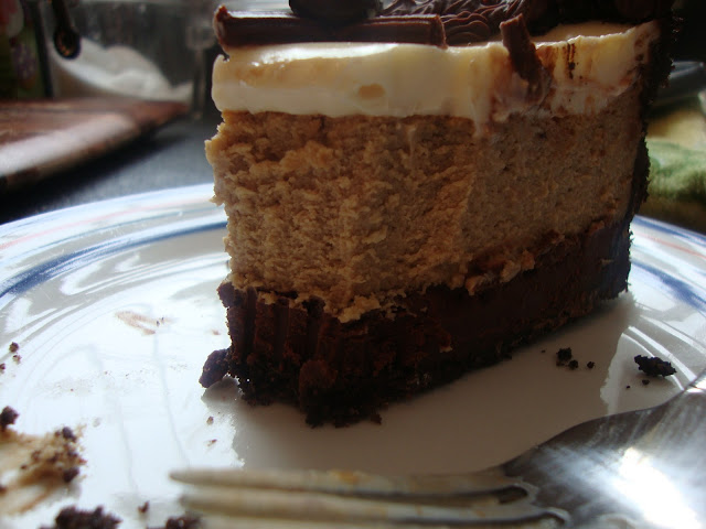 Piece Of Cappuccino Fudge Cheesecake With A Bite Missing