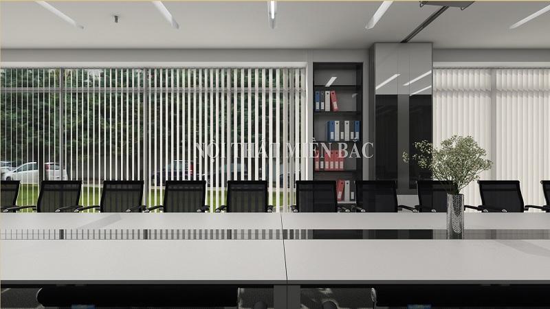 Thiết kế nội thất phòng họp sang trọng và linh hoạt với tủ tài liệu âm tường