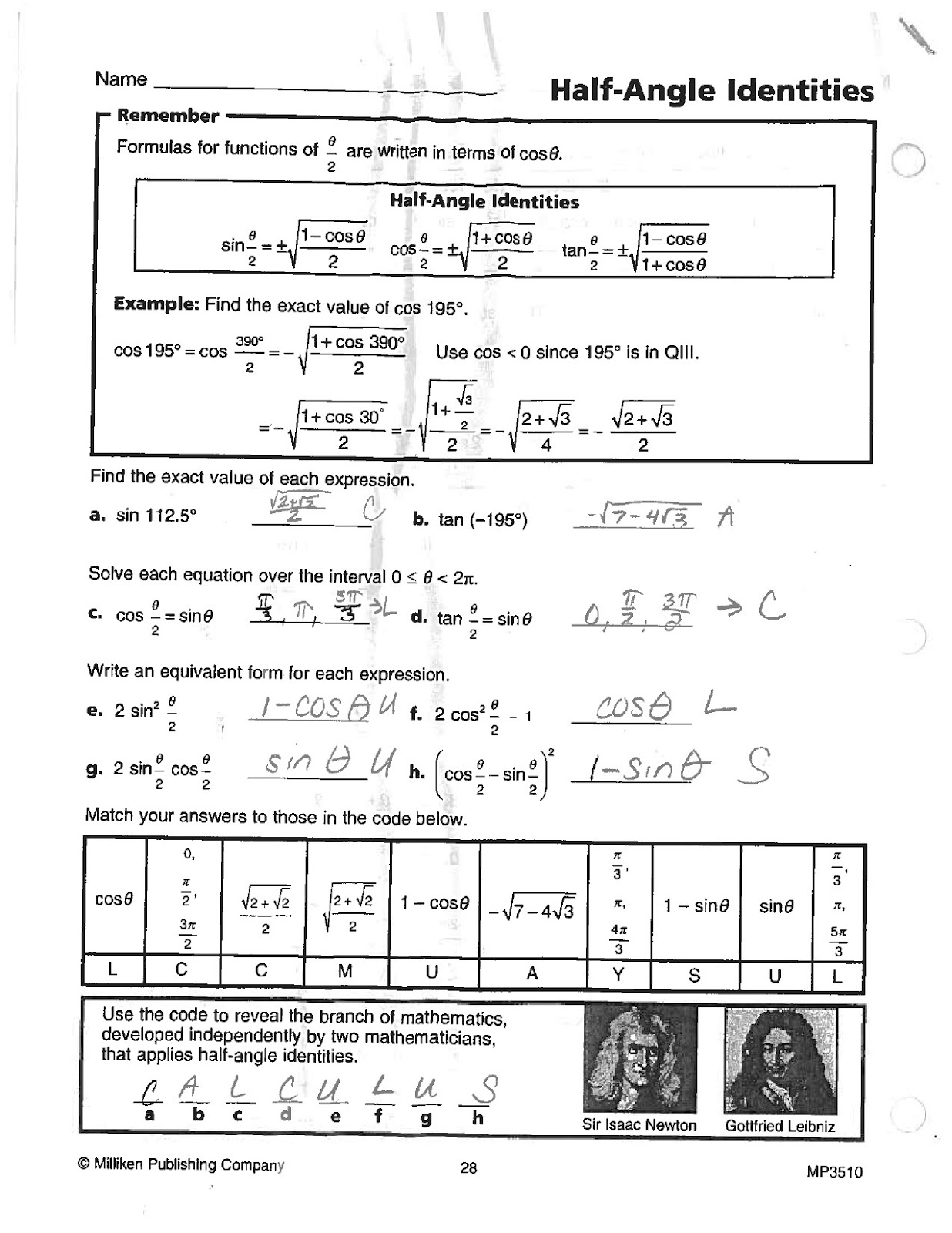 Math Classes Spring Trig Worksheets Answer Keys