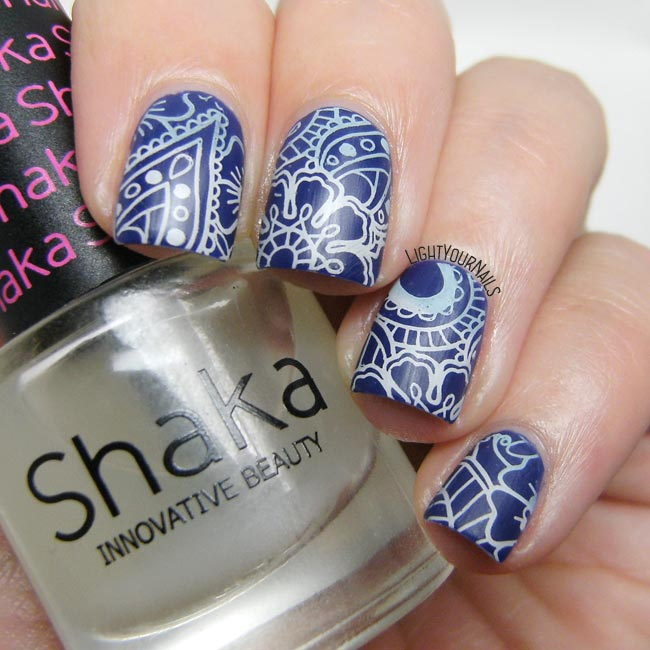 Matte blue flowers and paisley nail art feat. OPI... Eurso Euro and BP-L072 stamping plate