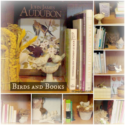 Birds and Books, Botanical books, Nature Books, Bird's Nest, Bird scluptures, bookcase decor, Florals-Family-Faith, Cindy Rippe