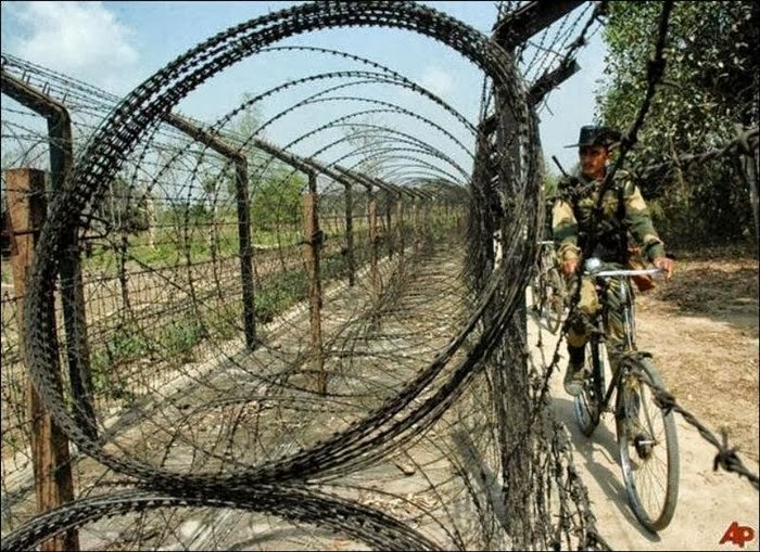Bangladesh and India Country Border Barbed Wire Line