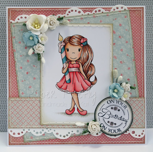 Girly birthday card featuring girl with candle (image from Paper Nest Dolls)