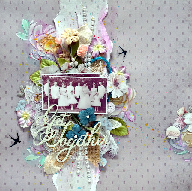 Get Together Mixed Media Vintage Wedding Layout by Dana Tatar for FabScraps