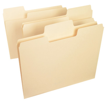 file folder with large tab, 1/3 cut