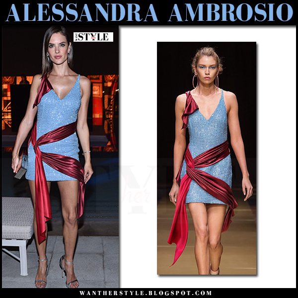 Alessandra Ambrosio in light blue sequined mini dress with red satin ribbon Versace what she wore red carpet party dress