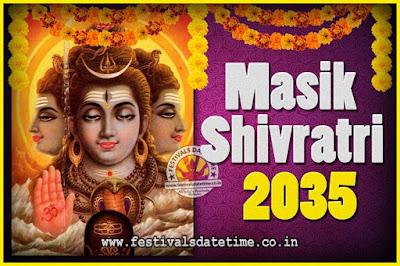 2035 Masik Shivaratri Pooja Vrat Date & Time, 2035 Masik Shivaratri Calendar