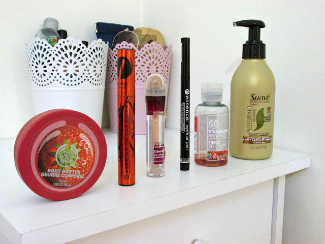 Product Empties, Essence mascara, Essence Eyeliner Pen, The Body Shop body butter, The Body Shop body wash Maybelline concealer, Suave leave in conditioner