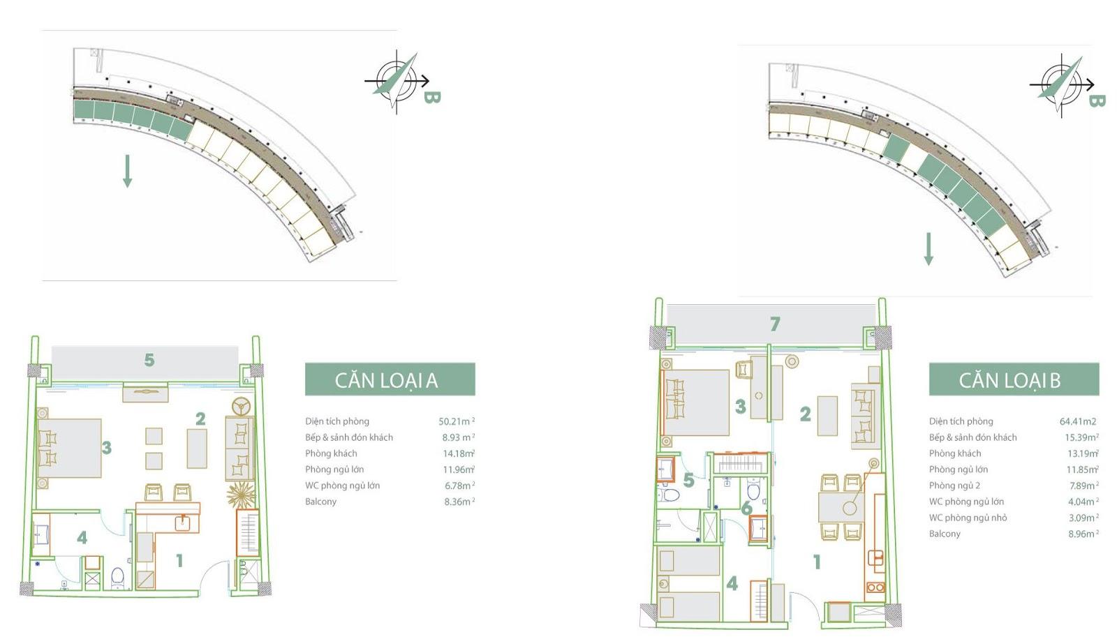 Mặt bằng thiết kế căn hộ loại A và B FLC Luxury Hotel Sầm Sơn