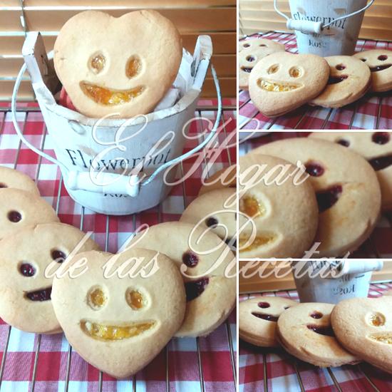 Galletas de mantequilla con sonrisa. Tienen  forma de corazón y circulares, rellenas de mermelada