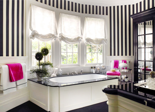 Design Your Bathroom Like The Ones You Find At Elite European Hotels With Black And White Stripes On Walls Add Bright Pink Towels To Bring In Much