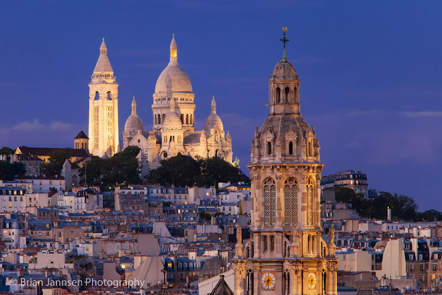 La Trinité church in the foreground with Sacré Coeur rising.