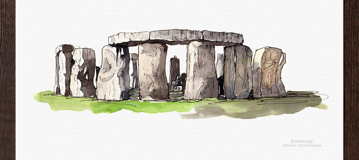 02-Stonehenge-United-Kingdom-Mucahit-Gayiran-Architectural-Landmarks-Mixed-Media-Art-Part-2-www-designstack-co